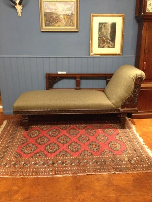 Beautiful refurbished and recovered chaise. Hand carved and finished in wool