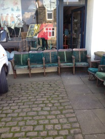 12 cinema seats reclaimed from a Blackpool theatre - in need of tlc but soilid enough - can make 3 rows of four