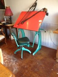 Stunning adjustable drawing board and matching adjustable pivet back stool