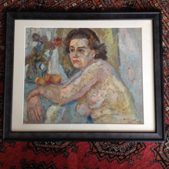 original oil on canvas painted in 1946 - 35cm x 44cm - named Angelina, Rome - signed and dated by Tadeusz Was - £390
