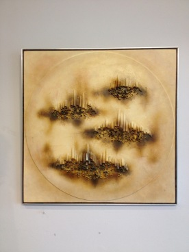 Alluminum framed mixed media 1960's abstract - signed -£150