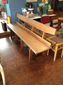 Scandi church pew - 7ft solid teak - killer design - crying out for a large kitchen £275