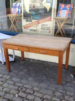 Teachers desk - oak - solid - home office or killer kitchen table - £120
