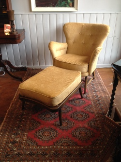 Ercol armchair and footstool fully re-upholstered - 1953 - £500 the pair