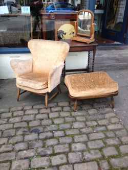 pre recover - Ercol armchair and foot stool 1953 -