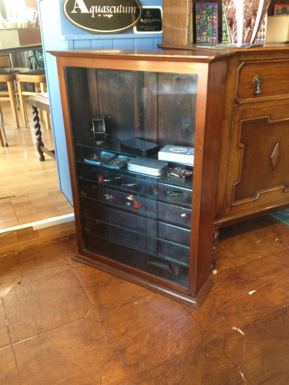 Edwardian display cabinet - two doors at rear - glass fronted with glass shelves - £145
