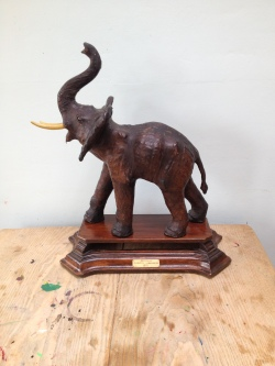 1872 - model of elephant Maharajah - who walked from Edinburgh to Bell Vue Botanical Gardens with his keeper - superb piece - leather