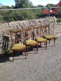 Lovely solid antique dining chairs - I may reupholster them - as they are - £130