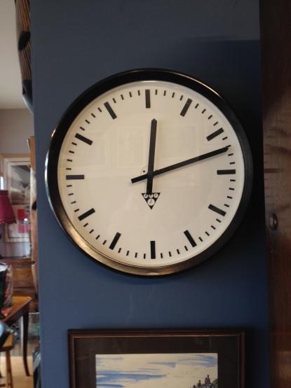 1960's Bakelite school clock - new battery movement fitted - running fine - £170