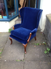 Parker Knoll wing back chair newly upholstered in blue velvet. New cushion and foam etc professionally done - £350