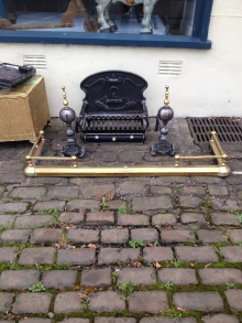 Nice cast iron dog grate with fire dogs - £50