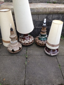 A gang of West German lamps about to go and be rewired and pat tested - price range from 90 - 170 when ready - phone me if interested