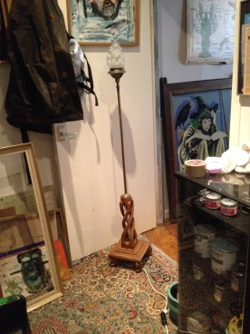 """Halophane floor lamp - arts and crafts 5'1"""" lovely"""
