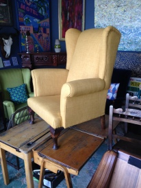 Completely stripped and refurbished in a fabric of the clients choice