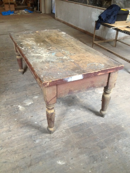 Reclaimed factory table - unrestored Dimensions are W97cm x H81cm x185cm
