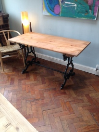 Plank top table on cast iron base £145