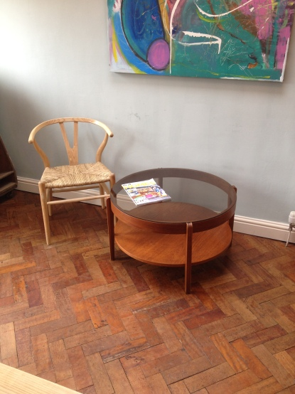 smoked glass top teak 70's coffee table £80