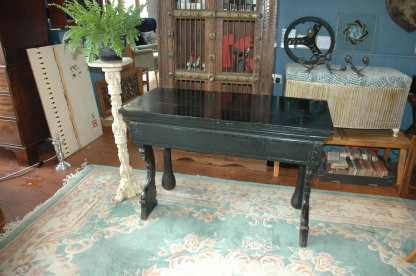 Ebonised console table - Back view