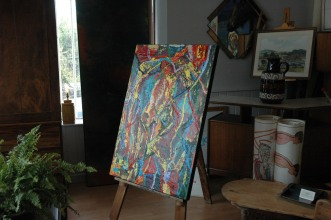 Bright and colourful abstract painting on canvas from 2011