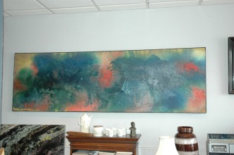 Created in 2011 this painting was designed to hang over a double bed - top quality wooden frame and canvas used - great depth and texture - one off and original