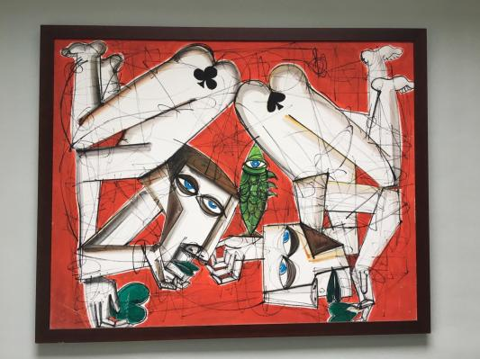Large cubist piece painted in 2001 – and purchased from Goldsmiths end of year graduation show – artist unknown – Acrylic on canvas – framed
