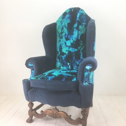 Reupholstered in Storm Blotch velvet by Timorous Beasties - this chair is a one of a kind