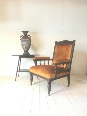 Nice large Victorian armchair - gold velvet - £190